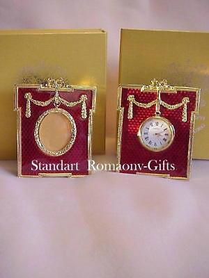 "Russian Imperial ""Empress Alexandra""  ruby red Desk Clock & Photo Frame Set for sale  Highlands"