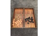 Antique Backgammon board with mother of pearl