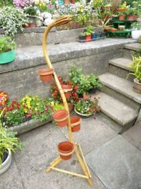 Vintage snake bamboo plant stand with 5 plant holders superb condition