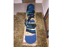 Burton Custom Flying V Snowboard 158 & Cartel EST Bindings (M Teal fade) + Bag