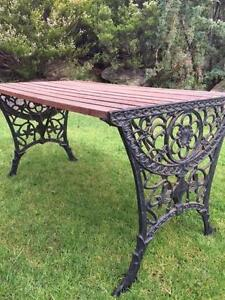 Cast Iron Jarrah Slated Table Inglewood Adelaide Hills Preview