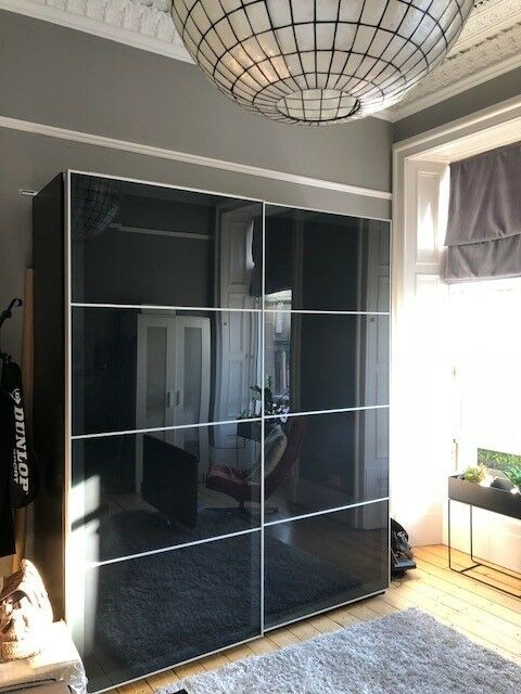 Large Ikea Pax Wardrobe With Sliding Doors Black In
