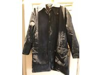 "BARBOUR BORDER JACKET COAT 3/4 LENGTH NAVY BLUE - RECENTLY WAXED - SIZE 38"" CHEST"