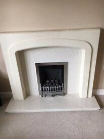 Gas fire and surround & half