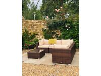 6 Piece Rattan Corner Sofa set in chocolate and brown