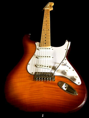 6 STRING FLAMING MAPLE PRO STRAT ELECTRIC SUNBURST GUITAR WITH GREAT ACTION