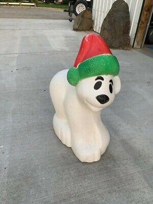 "Blow Mold Polar Bear with Santa Hat and Light Vintage Christmas 30 x 21 x 11"""