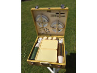 Vintage BREXTON Four Place Picnic Hamper Set with Key