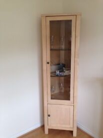 Pine living room display cabinet, glass shelves