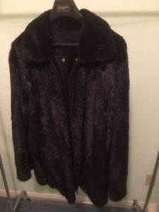 Genuine Mink fur coat with mink side and leather on other side