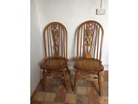 vintage table and windsor wheelback chair (s)