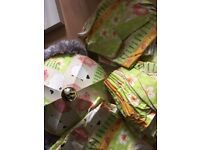 Kids Farm Patterned items - curtains, lamp shade and bedding.