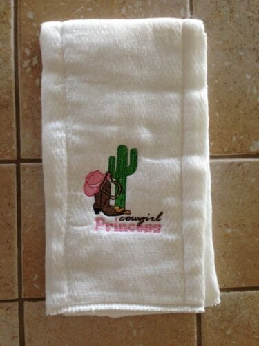 Cowgirl Princess embroidered burp cloth Personalized