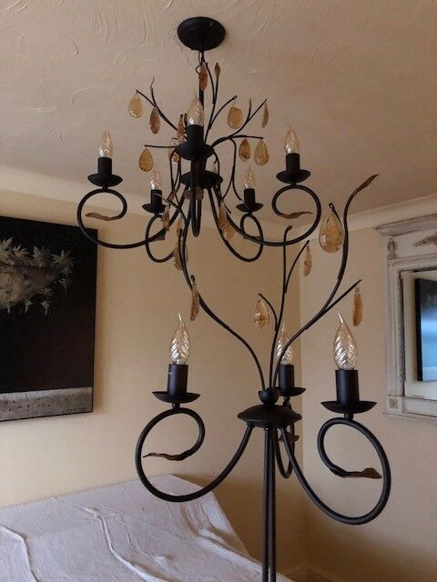 Lovely Chandelier And Floor Light With Murano Gl Droplets In Wilmslow Cheshire Gumtree