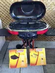 Coleman folding portable bbq with griddle and stove grate