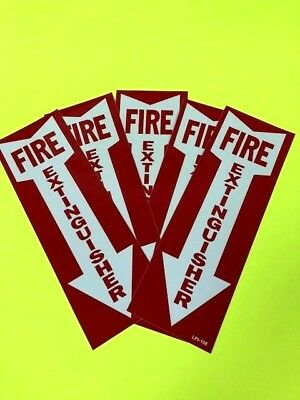 Fire Extinguisher Arrow Sign Self-adhesive Vinyl  4 X 12 -lot Of 5