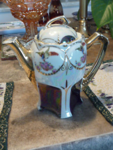 Beautiful Antique German Hand Painted And Luster Tea Pot