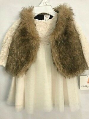 SALE! STARTING OUT Infant Girls 2 PC, Ivory Mesh CHRISTMAS Dress, Faux Fur Vest](Girls Winter Clothes Sale)