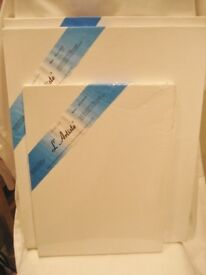 L'ARTISTE 3 STRETCHED CANVASES. PURE COTTON DUCK DOUBLE ACRYLIC GESSO PRIMED, SUIT ACRYLIC & OIL