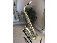 Alto saxophone B & H 400 by Boosey and Hawkes with hard case & other extras