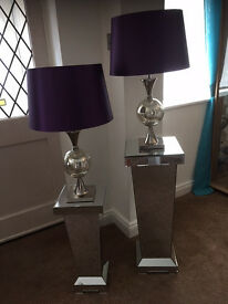 "Pair of Mosaic Lamps with Purple Shades 66cm (26"")"