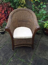 Rattan Chair & Cushions. Ideal for Patio or Conservatory. £19.99 O.N.O