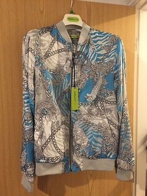 VERSACE JEANS Baroque & Chain Print Bomber Jacket - Grey & Blue - UK 40/ IT 50