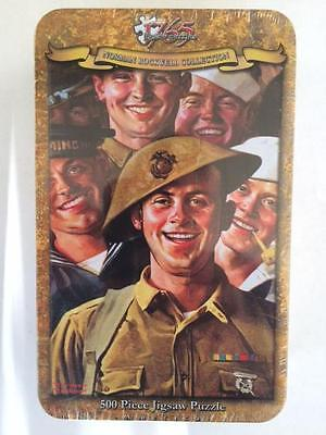 """500 PIECE JIGSAW PUZZLE NORMAN ROCKWELL COLLECTORS TIN """"Are We Downhearted"""" USMC"""