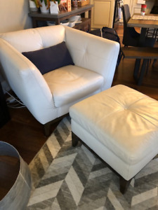 White Leather Oversized Chair with Ottoman $250 OBO
