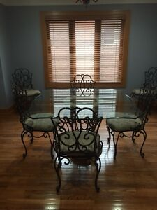 Wrought Iron Glass Top Table With Six Chairs by The Bombay Comp
