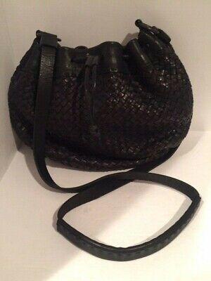 Henry Cuir Beguelin Black Woven Leather CrossBody Bag Messenger Bag # 2005