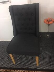CHESTERFIELD DESIGN CHARCOAL FABRIC CHAIRS