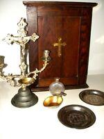 1897 Last Rites SickCall Holy Box HOMER Catholic Crucifix CHURCH