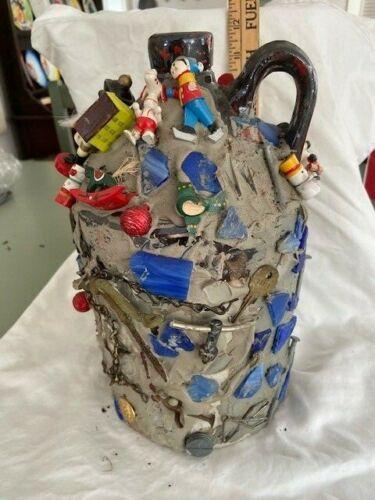 "11"" Stoneware memory jug Contemporary Folk Art c1980s"