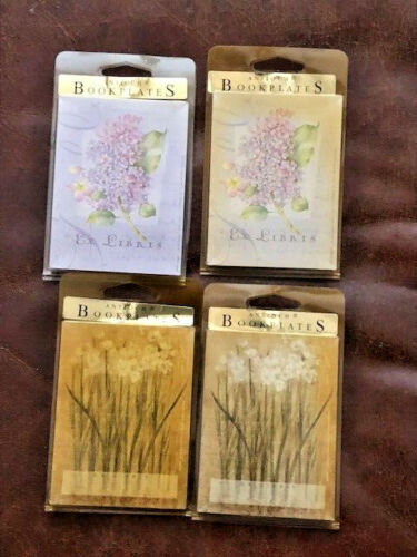 NIP LOT OF 4 PKGS. OF VINTAGE ANITOCH BOOKPLATES-2 PATTERNS
