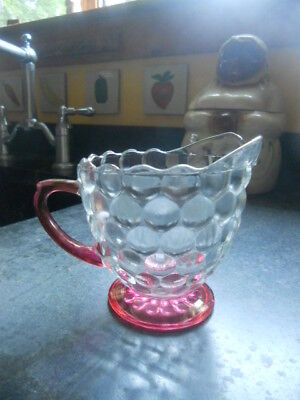 (VINTAGE CLEAR BUBBLE GLASS CREAMER WITH CRANBERRY HIGHLIGHTS)