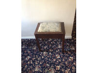 Antique Piano Stool with hinged lid and storage