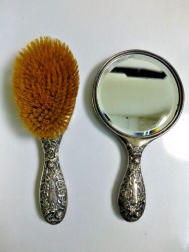 Antique Simon Brothers 1895 Sterling Repoussé Floral Brush and Mirror Set