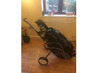 Full set of right handed Max Fli golf clubs, Large near new Concourse Golf Bag & 2 wheeler trolley