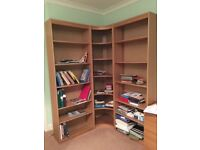 Bookcases and corner display unit