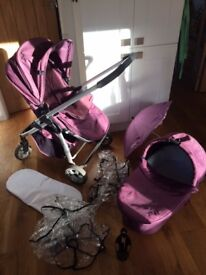 iCandy Cherry pushchair and carrycot with lots of accessories