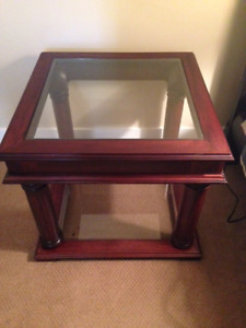 Wood and glass table in as new condition