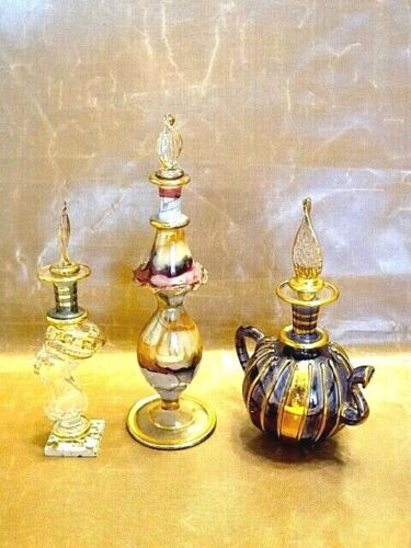 Egyptian Blown Glass Perfume Bottles - Crafts of Egypt - 3 Multicolored Set
