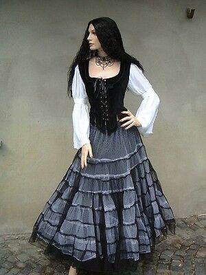 Gothic Wave super weit Tüll Rock Petticoat Black Magic schwarz weiss 36 38 40 42