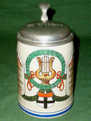 Old Art Nouveau Singer Beer Stein Jug Singer Krug Song Jar Mugs Beer Steins Lyra
