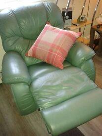 'La Z Boy' Beautiful Green Leather Reclining Armchair