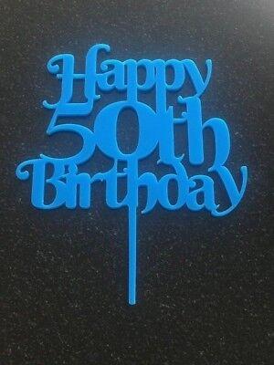 Happy 50th Birthday cake topper in light blue acrylic Happy Birthday celebration (Happy Birthday In Lights)