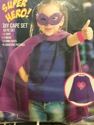 Girl Halloween Costume Diy (NEW! SUPER HERO DIY CAPE SET Halloween Costume SUPERHERO Cape MASK Pink)