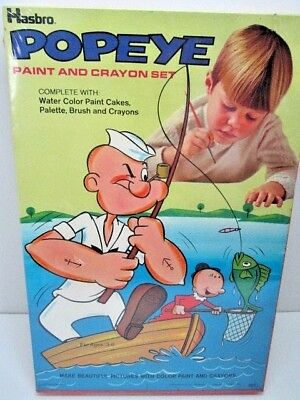 VINTAGE POPEYE PAINT AND CRAYON SET UNUSED FACTORY SEALED HASBRO TOY