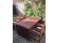 FREE IKEA Garden Table (drop leaf), 2 Single Chairs + Bench. Good condition. Needs assembly.